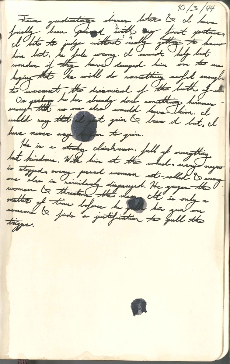 10/03/44 Journal Entry: First Partner